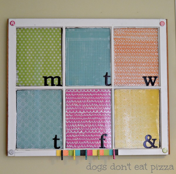DIY customized memo board from an old window - thediybungalow.com