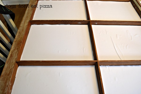 Glued paper to panes updating window memo board - thediybungalow.com