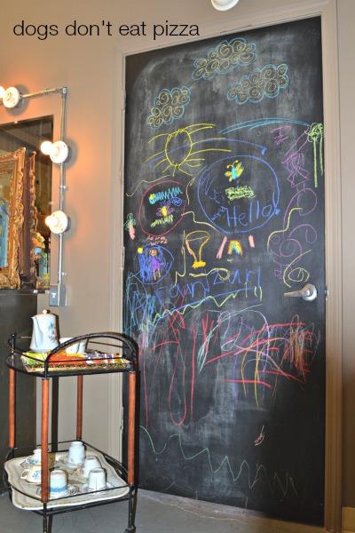 chalkboard-door-cart- Dogs Don't Eat Pizza
