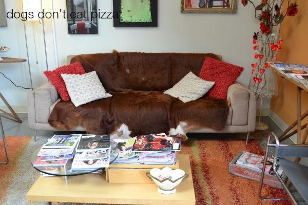 cowhide-on-sofa - Dogs Don't Eat Pizza