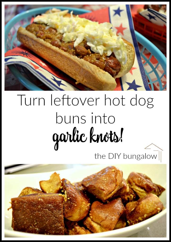 Now you know what to do with all those leftover buns! Turn leftover hot dog buns into garlic knots - thediybungalow.com