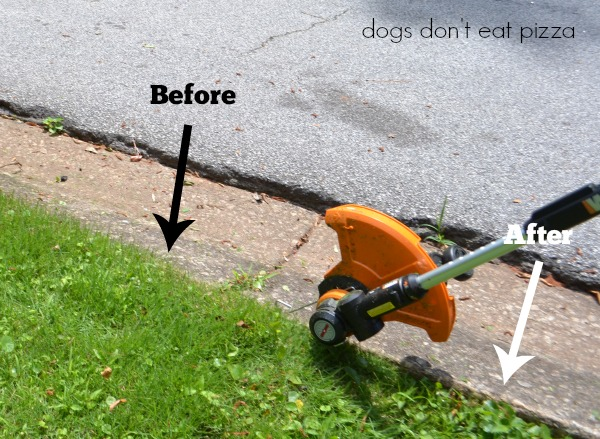 WORX-before-after-edger - review - Dogs Don't Eat Pizza