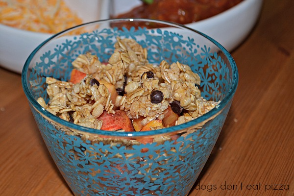 Peaches (or any fruit) and granola - back to school snacks - Dogs Don't Eat Pizza