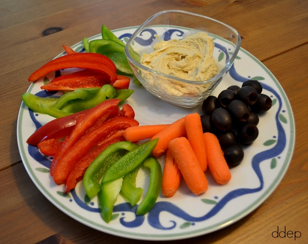 veggies, hummus, olives, and dip - back to school snacks - Dogs Don't Eat Pizza
