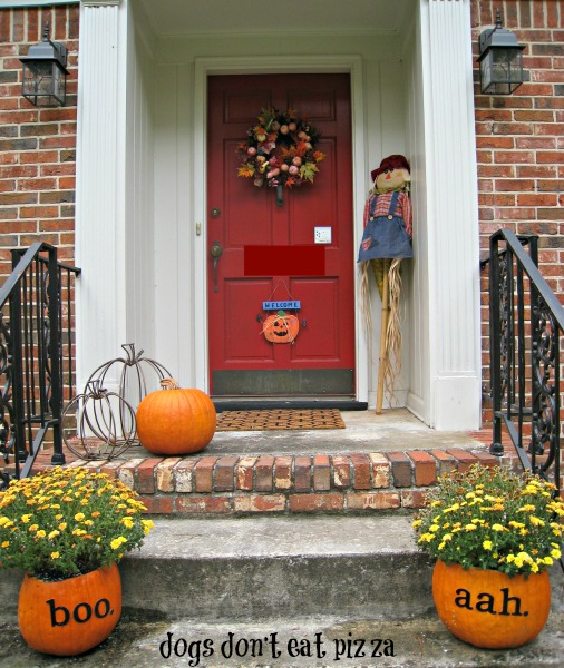 Halloween-door-pumpkin-planters - all things fall - Dogs-Don't-Eat-Pizza