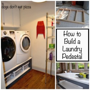 Tired of stooping or sitting on the floor to do laundry? Here's how to build a laundry pedestal - thediybungalow.com