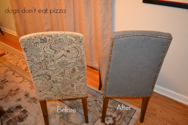 How to reupholster parsons chairs - it's easy and you can do it in one afternoon! Earth Day repurposing projects - From thediybungalow.com