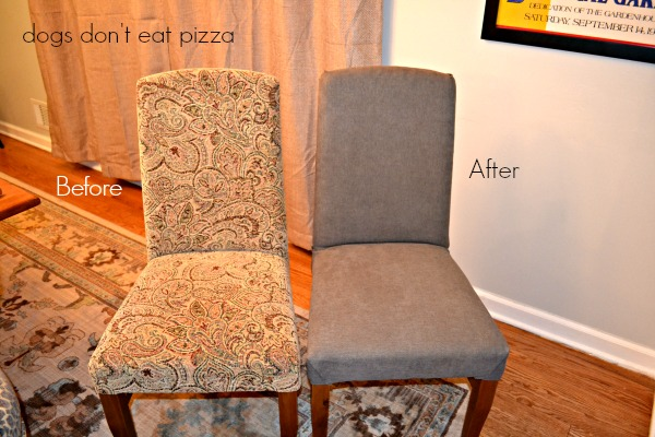 Reupholstered parsons chair before and after - thediybungalow.com
