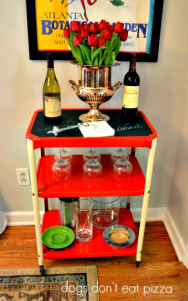 Spray paint a metal cart to create a bar cart - thediybungalow.com