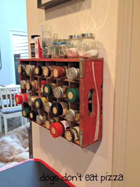 Use a vintage Coke crate as spice rack - vintage Coke crate spice rack - thediybungalow.com