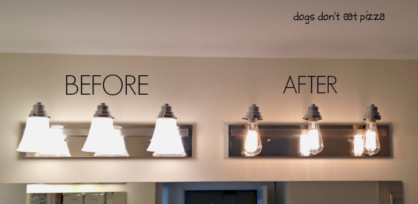 bathroom light fixture before and after - update bathroom lighting - thediybungalow.com