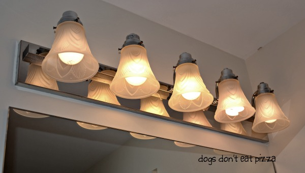 before victorian light shades in bathroom - update bathroom lighting - thediybungalow.com