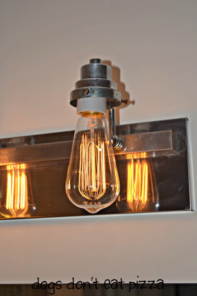 vintage bulb in bathroom fixture - update bathroom lighting - thediybungalow.com