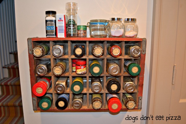 vintage coke crate spice rack closeup - Dogs Don't Eat Pizza