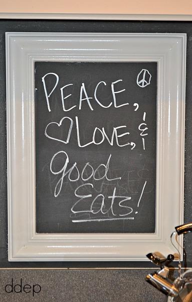 chalkboard backsplash with frame - kitchen - thediybungalow.com