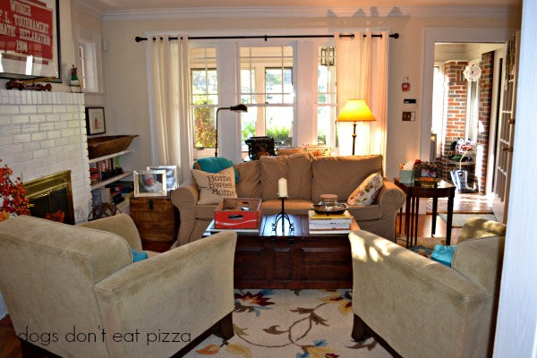 The living room in the 1929 House - thediybungalow.com
