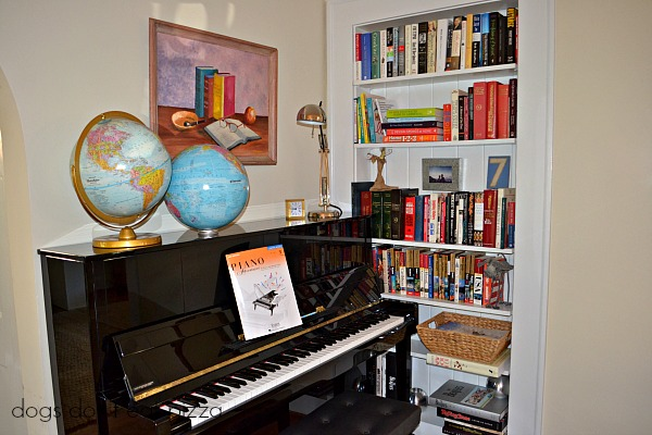 Piano in the living room in the 1929 House - thediybungalow.com