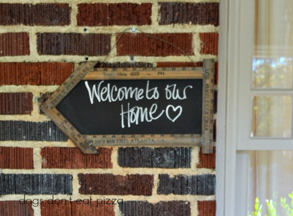 Welcome sign on front porch - Home Tour - thediybungalow.com