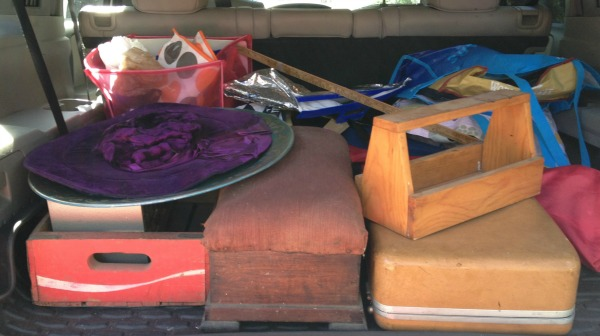 Friday Five - five things to know about shopping estate sales - haul in car - Dogs Don't Eat Pizza