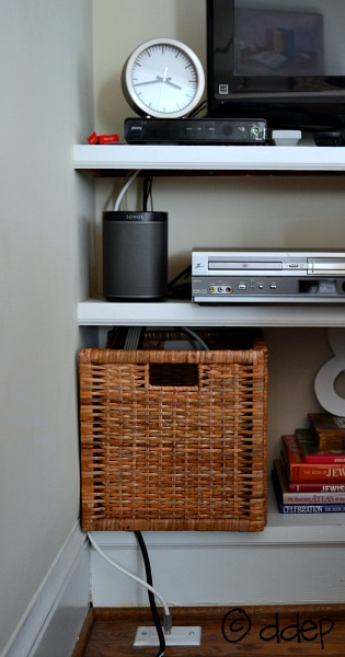 Hack an IKEA basket to hide cords - five awesome home hacks - thediybungalow.com