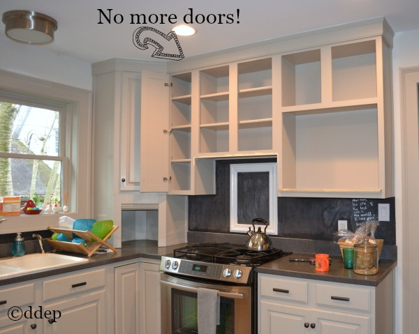 kitchen reno plan - first I removed the cabinet doors - Dogs Don't Eat Pizza