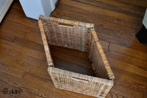 take an Ikea basket without the bottom - hide cords - Dogs Don't Eat Pizza
