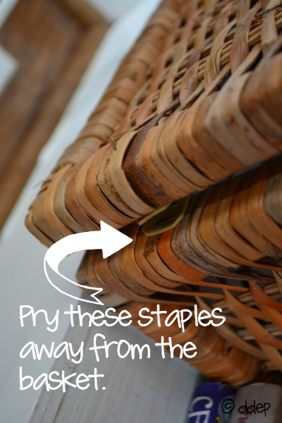 the basket is held together with just staples - hide cords - Dogs Don't Eat Pizza