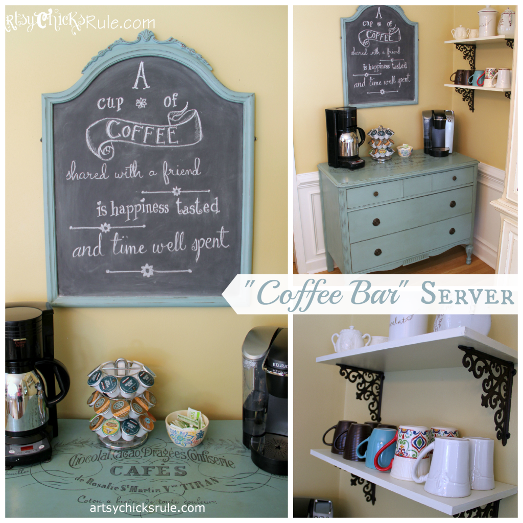Coffee-Bar-Station-Annie-Sloan-Chalk-Paint-with-Shelves-Artsy Chicks Rule