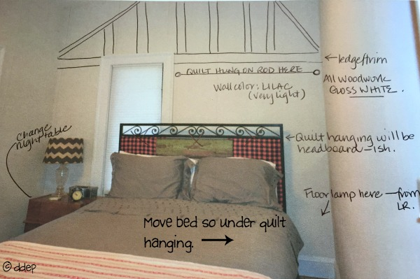 Plans for the guest room before and after - thediybungalow.com