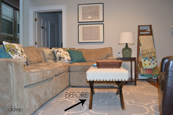 Ottoman as coffee table before - from crate to coffee table - thediybungalow.com