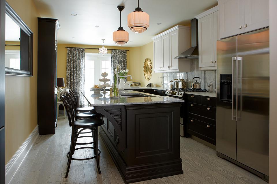 Sarah101 kitchen with doors on island - Five Ways to Repurpose Old Doors - thediybungalow.com