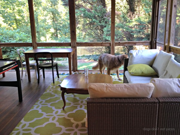 back porch - how to clean a screened porch - Dogs Don't Eat Pizza
