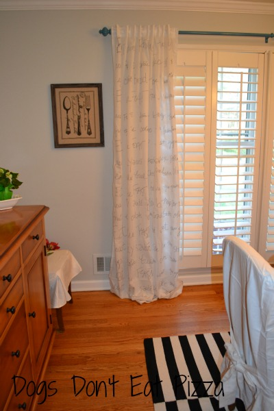 finished curtains one side - how to DIY custom curtains with a Sharpie - Dogs Don't Eat Pizza