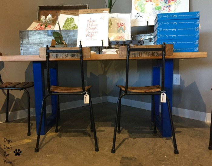 Public school chairs with table with blue legs - thediybungalow.com