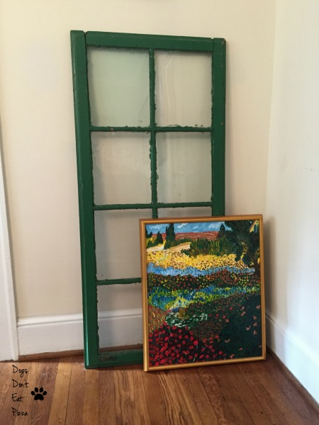 window as backdrop for art - five uses for old windows - Dogs Don't Eat Pizza