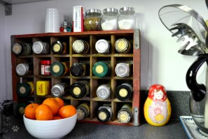Coke crate spice rack - favorite yard sale tips - Mohawk Homescapes