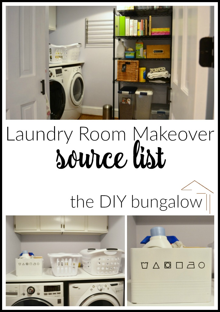 Laundry room makeover reveal source list - find this and more room makeovers at thediybungalow.com