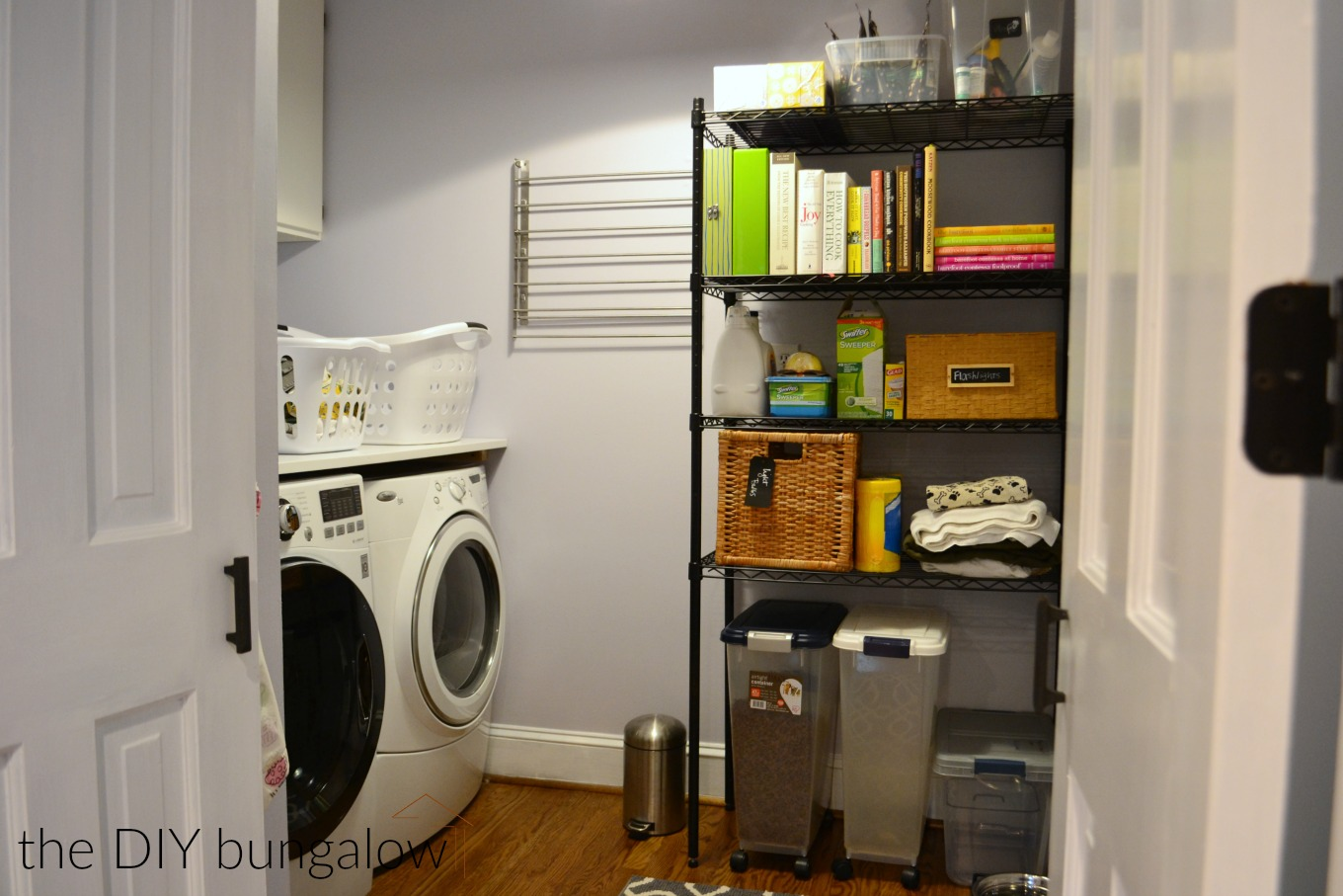 Laundry room reveal with storage and color - thediybungalow.com