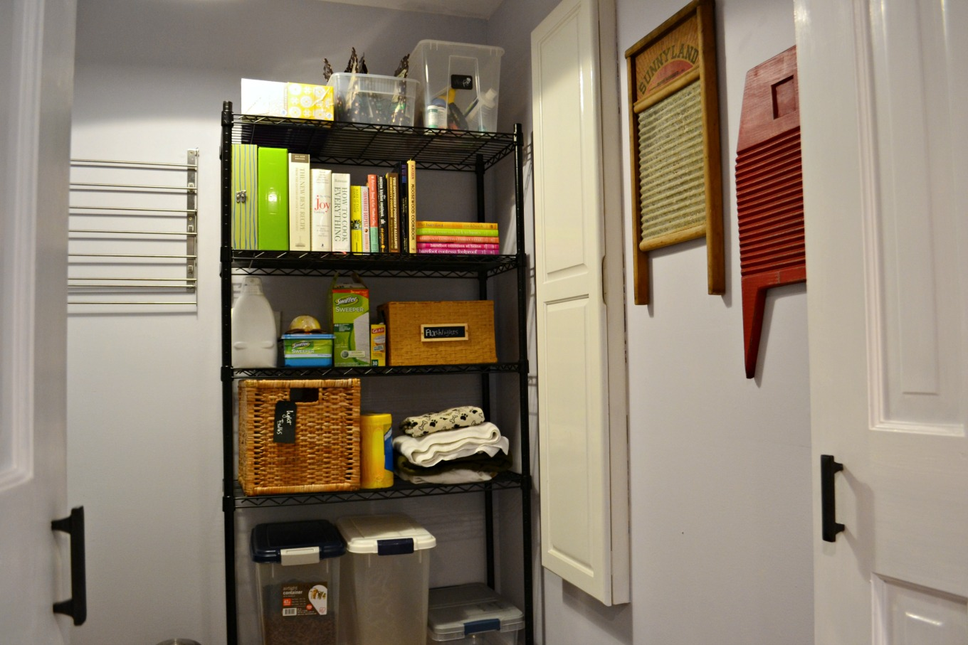 Laundry room storage after laundry room reveal - thediybungalow.com