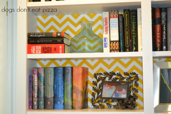 shelves with chevron fabric - five favorite design tips - Dogs Don't Eat Pizza