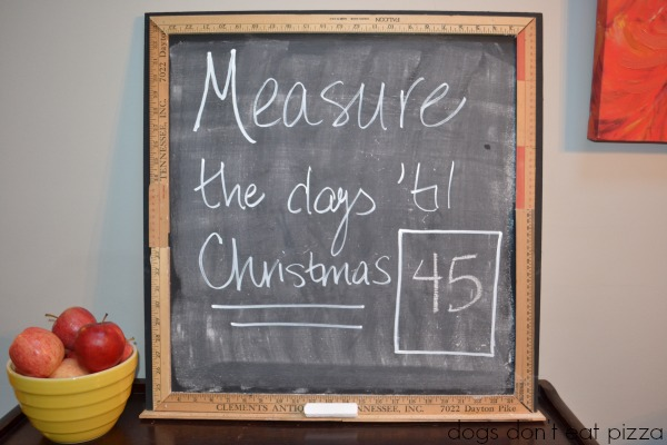 Christmas countdown chalkboard up close - five chalkboard paint projects - Dogs Don't Eat Pizza