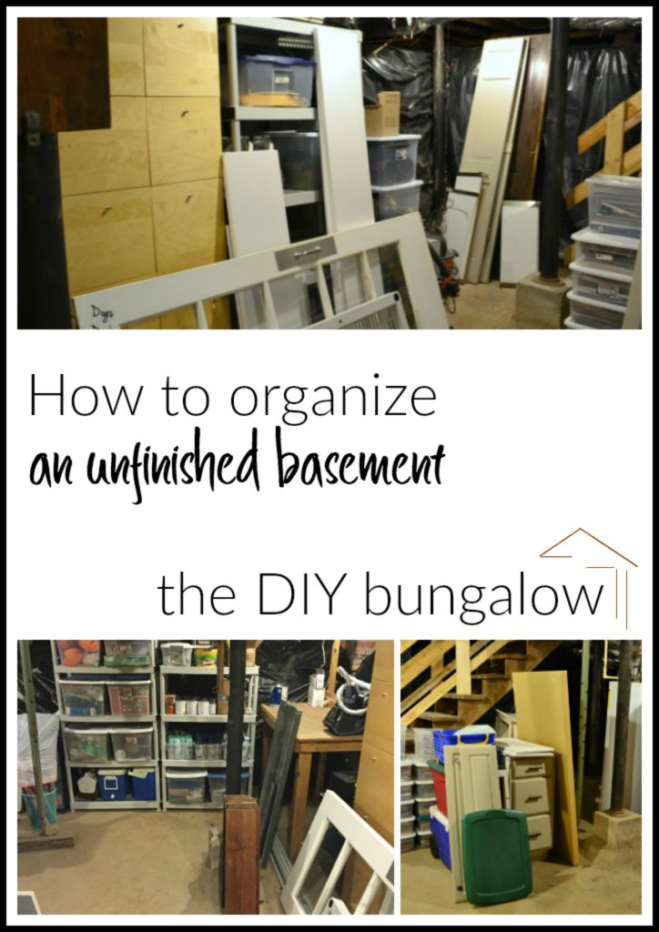 How to organize an unfinished basement - find this project and more organization ideas and tips at thediybungalow.com