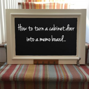 If you have an old cabinet door or find one at a salvage yard or ReStore, you can turn it into a memo board. Follow these easy steps and you'll have a fun new memo board in no time! From thediybungalow.com