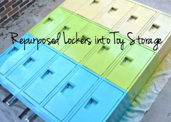 Repurposed old lockers for toy storage - thediybungalow.com