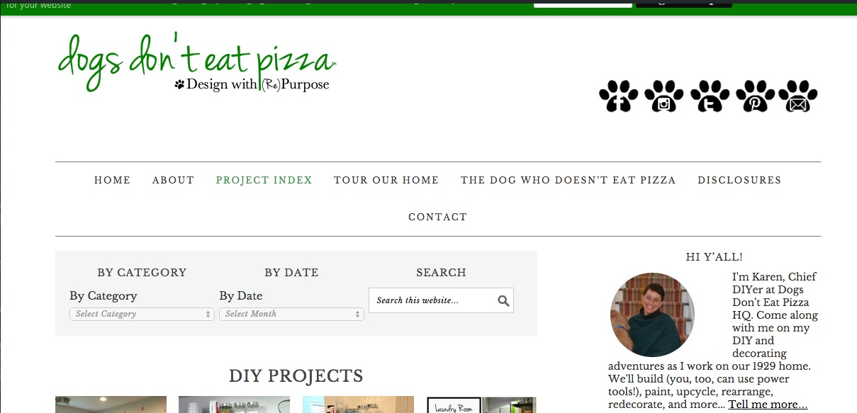 project index page - Dogs Don't Eat Pizza
