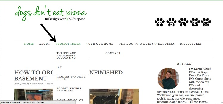 project index screen shot of blog - Dogs Don't Eat Pizza