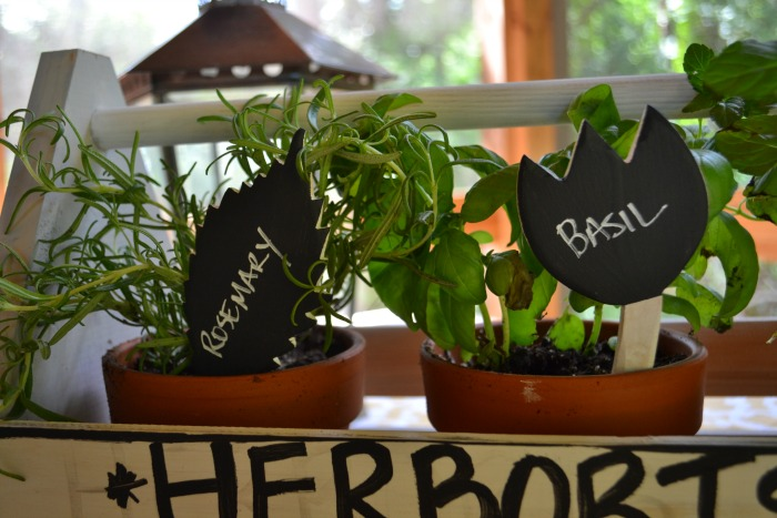 rosemary and basil pots and plant markers - farmhouse style herb garden - Dogs Don't Eat Pizza