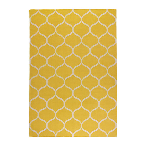 stockholm-rug-flatwoven-yellow-IKEA - designing a dining room - thediybungalow.com