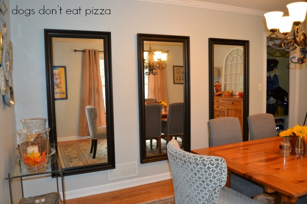 Using three large mirrors to decorate a big blank wall - thediybungalow.com
