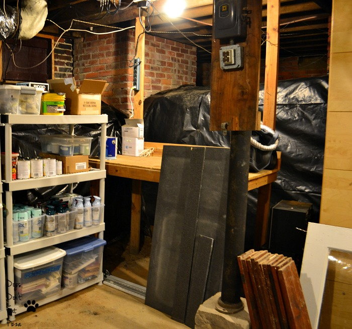 Putting things near where I use them as how to organize an unfinished basement - thediybungalow.com